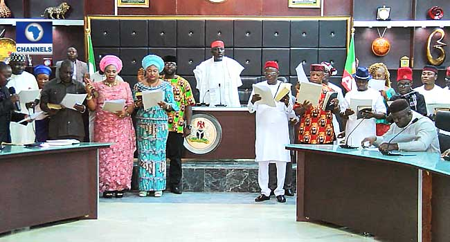 Imo LG Elections: Okorocha Swears In Newly Elected Chairmen@thegleamer