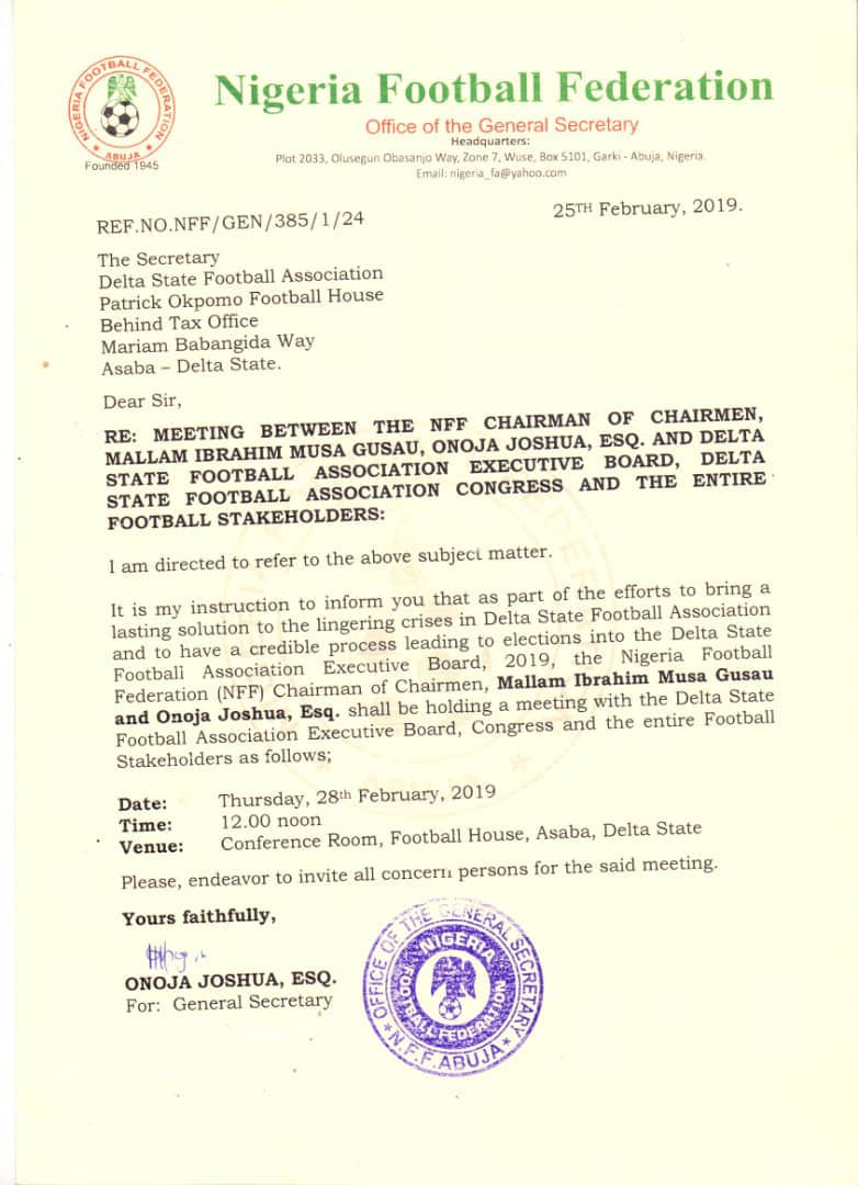 NFF Storms Asaba On Thursday To Resolve Delta State Football Association Crisis