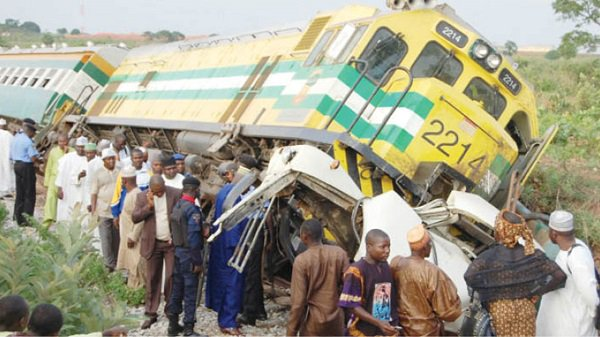 Bus rams into train in Lagos