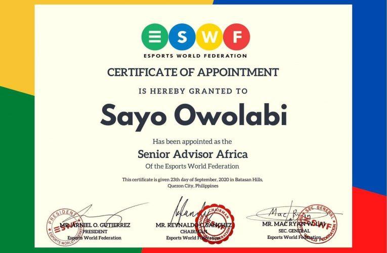 Sports Minister Congratulates Sayo Owolabi On His World E-sports Appointment